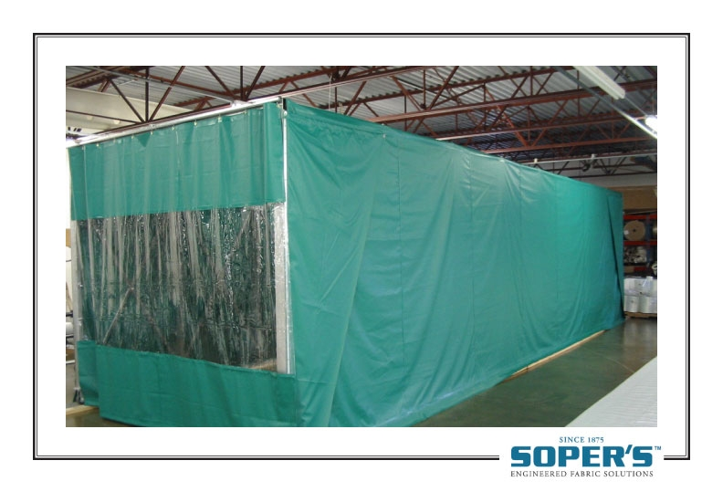 green retractable enclosure to prevent cross-contamination